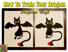 The Keeper of the Cheerios: How to Train Your Dragon Footprint Craft Diy Crafts To Do, Baby Crafts, Crafts For Kids, Craft Activities, Preschool Crafts, Yule, Movie Crafts, Baby First Halloween, Footprint Crafts