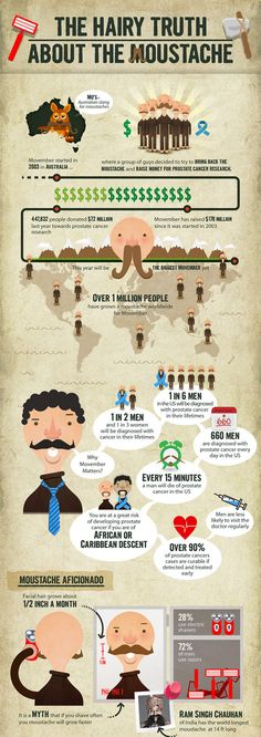 """Of course I'm repinning this...  """"The Hairy Truth about the Moustache"""" infographic."""