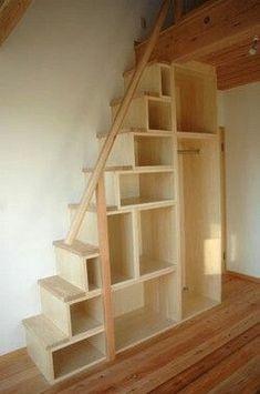 tiny house plans with loft / tiny house plans ; tiny house plans on wheels ; tiny house plans with loft ; tiny house plans one floor ; Tiny House Stairs, Attic Stairs, Loft House, Basement Stairs, Stairs For Loft, Bookcase Stairs, Bookshelf Ladder, Basement Bedrooms, Attic Renovation