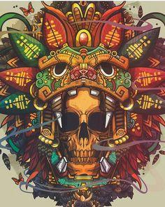 Mayan Tattoos, Mexican Art Tattoos, Aztec Culture, Tiki Art, Mexico Art, Aztec Art, Illustration Art, Illustrations, Desenho Tattoo