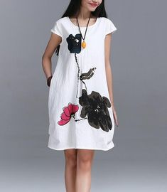 Summer Artsy Floral Short Linen Dress, ink Boho, 3 colors