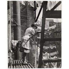 U.S. Young Woman Hanging Laundry on Clothesline (Harlem), 1948 // Gordon Parks