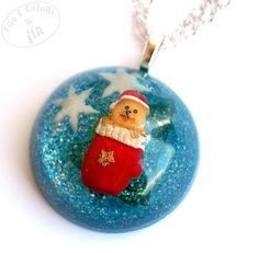 Christmas resin necklace pendant 3D turquoise by Filoecoloridiila, €20.00