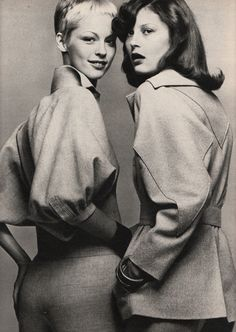 Left: Kenzo Jap, Right: Karl Lagerfeld for Chloe, Marie Claire - March 1972, Photographed by Marc Hispard