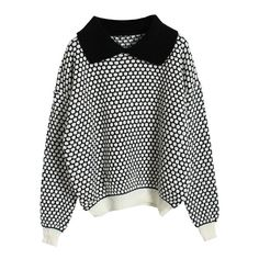 Pineapple Dots Color Contrast Black Jumper (670 ARS) ❤ liked on Polyvore featuring tops, sweaters, jumpers, shirts, long sleeve sweater, cuff shirts, long sleeve shirts, long sleeve polyester shirts and embellished top