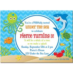 Under the Sea Invitation Printable or Printed by ThatPartyChick