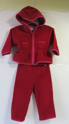 bf71219687cc6 OshKosh Girl's Fleece 2pc. Outfit Set Hooded Top and Pants 12 Months Maroon