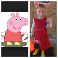 Peppa Pig costume: red jumper dress, pink leotard, pink tights, and yellow rain boots!