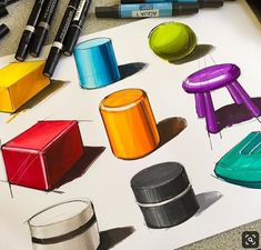 Object Drawing, Wall Drawing, House Drawing, Copic Drawings, Art Drawings Sketches, Sketch Markers, Copic Markers, Sketch Design, Design Art