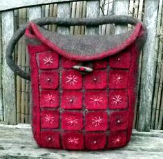 Geometric Large Felt Hand Bag A Mix of Mohair and от BaBaaBagChic