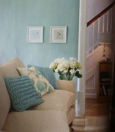Definitely going for a duck egg blue lounge now I have a cream sofa, loving these blue cushions