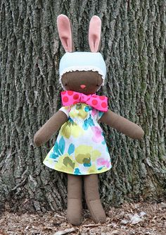Wee Wonderfuls Pattern to turn her folk doll into a folk bunny.  Free Download I love her aesthetic.