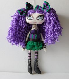 Malory Sassy Gothic Purple Green Cloth Art Rag by OCRPrimitiveArts, $75.00