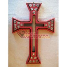 Cross: Red and Black with beautiful Rose Milagros, by Susie Carranza. Available at www.ArtedeNuestroCorazon.com