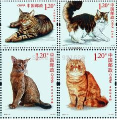 Chinese cat stamps