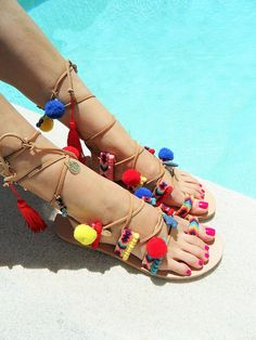 Bohemian Gladiator Leather Sandals-Lace up by MarilooCrafts