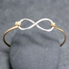 INFINITY Charm Bangle Bracelet Cuff Sterling by RoyalCountess, $89.00