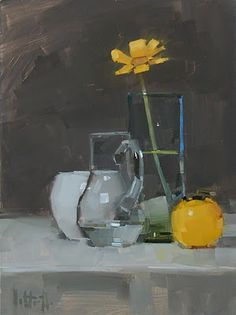 Title - Little Bit of Yellow  Aaron Lifferth is one of my favorite still life painters.  His style is modern with clean lines and beautiful colors.