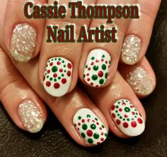 Christmas polka dot mandalas snowy glitter gel mani nail art by Cassie Thompson nail artist of Vancouver WA Follow me on Instagram @ctnailartist