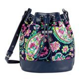 Drawstring Crossbody in Petal Paisley with Navy Trim