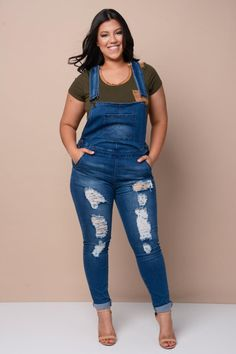 Who else is excited your favorite childhood favorite, The Denim Overall, is back?!? Distressed Skinny Denim Overalls Bottoms+ GS-LOVE