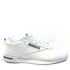 Reebok Classic Mens Exofit Lo Clean Logo AR3169 White Royal Blue Shoes Size  10 b54f32e6e