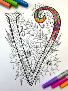 "Letter V Zentangle - Inspired by the font ""Harrington"""