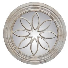 Hickory Manor Entryway Petal Circle Mirror/Old World White 6962OWW