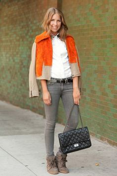 Blogger Colby Jordan of Minnie Muse in rag & bone pants, Prada top, Isabel Marant shoes, 3.1 Phillip Lim jacket, Chanel bag, Isabel Marant bag.