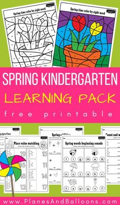 Free printable spring kindergarten worksheets - fun activities for math and literacy centers, morning work, learning place value, sight words and more! printables kindergarten worksheets Spring kindergarten worksheets pack perfect for your spring theme Printable Preschool Worksheets, Free Kindergarten Worksheets, Kindergarten Lesson Plans, Kindergarten Learning, Subtraction Kindergarten, Free Printables, Summer Worksheets, Early Learning, Sight Words