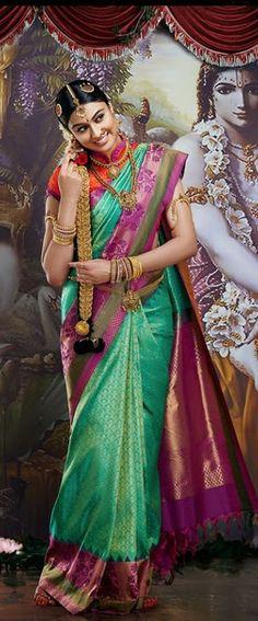 Bride in green silk saree