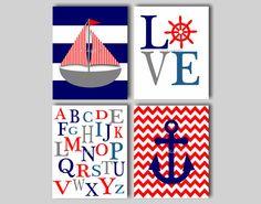 Baby Boy Nautical Nursery Art Nautical Chevron Boys Room Nautical Decor Anchor Art Sailboat Art ABC Nursery - CHOOSE COLORS - 4 8x10 Prints