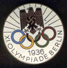 Symbolizing the most controversial games in history, the Nazi Olympics, were as conflicted as this symbol representing them. The Imperial eagle has been a symbol of the region for generations, but emblazoned with the swastika, a symbol coopted from the Jewish people, it shows the way in which Germany had been stolen by mad men. The Olympic rings are ironic because the Olympics represent unity through national friendship, while the Nazi's valued unity through force. High cognitive effort