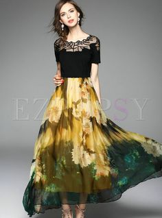 Shop for high quality O-Neck Mesh Patch Print Maxi Dress online at cheap prices and discover fashion at Ezpopsy.com