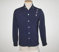 Vintage 1950s Shirt / 50s Navy Argyle Shirt / 50s Navy Shirt With Argyle Diamond Design By Chesley - S by SayItWithVintage on Etsy