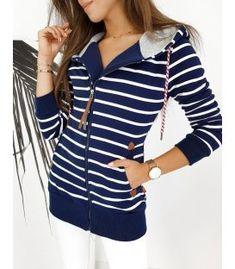 Dámska tmavomodrá mikina Long Marine Tops, Women, Fashion, Moda, Fashion Styles, Fashion Illustrations, Woman