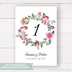 Números mesa para boda imprimibles. Decora y personaliza las mesas de tus invitados de una forma muy especial. Cambia los textos e imprímela fácilmente.