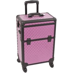 Featuring sturdy wheels for portability and a telescopic handle, this luxurious professional makeup case includes locks and keys to keep your makeup and supplies safe while you travel.