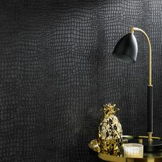 Graham Brown Crocodile Black Wallpaper - Black Elegant crocodile skin pattern adds sophistication and fun to your space. Experience the sophistication and personality wallpaper adds to your decor without the hassle. Black Wallpaper Bedroom, Dark Wallpaper, Peel And Stick Wallpaper, Black Textured Wallpaper, Wallpaper With Gold, Living Room Wallpaper Accent Wall, Renters Wallpaper, Backsplash Wallpaper, Plaid Wallpaper