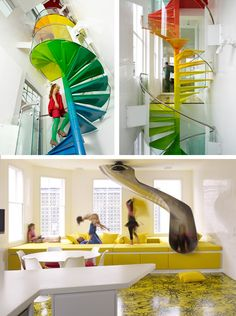 Inside the Rainbow House in London... The Rainbow House, in London, was completed in 2009 and designed was designed by Ab Rogers Design in collaboration with DA.Studio. The house's vibrant colors and wild patterns can be seen on almost every surface and has a slide that goes from the second floor master bedroom into the living room.