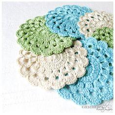 Vintage Crochet Coasters/Doilies of summer by GerberaHandmade, $18.00