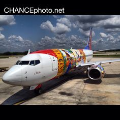 """Southwest Airlines """"Florida One"""" aircraft. Boeing 737-700 painted with the Florida state flag."""