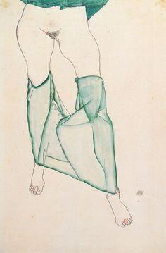 Egon Schiele (AT 1890-1918) Weiblicher Torso mit grüner Draperie, 1913.