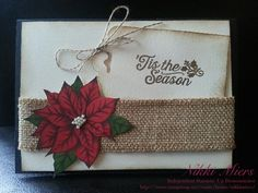 Stampin Up Holiday Catalogue 2015....Oh, What Fun Stamp, Burlap Ribbon, Linen Thread, Gold Embossing, Home for Christmas DSP