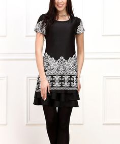 Another great find on #zulily! Black & White Lace-Print Ruffle-Hem Tunic by Reborn Collection #zulilyfinds