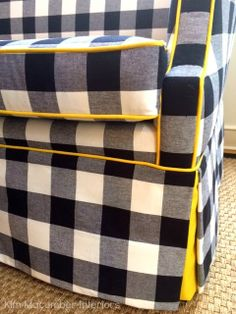 Fun Yellow Piping on this Buffalo Check. Kim Macumber Interiors