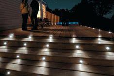 Solar Stair Lights for Deck Solar Powered Led Step Lights Solar Stair Lights For Deck Solar Deck Deck Post Lights, Deck Step Lights, Solar Deck Lights, Outdoor Stair Lighting, Led Stair Lights, Led Exterior Lighting, Deck Steps, Outdoor Steps, Outdoor Decking