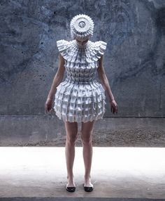Garment made from interlocking foam pieces by Croatian designer Matija Čop reference construction techniques and shapes found in gothic architecture