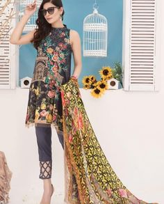 0a5b13bf93 MAYANAZ Print Embroidered Lawn By Nur Series Collection 2018 · Lawn,  Collection, Dresses, Fashion, Vestidos, Moda, Gowns, Fasion,