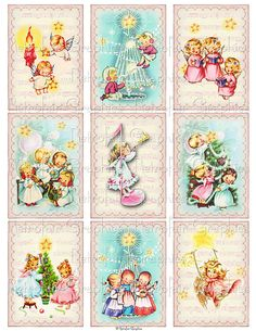 Pink Christmas Angels Digital Collage Sheet by RetrofairGraphics Shabby Chic Christmas, Pink Christmas, Vintage Christmas Cards, Christmas Angels, Christmas Crafts, Vintage Inspiriert, Atc Cards, Handmade Tags, Vintage Birthday